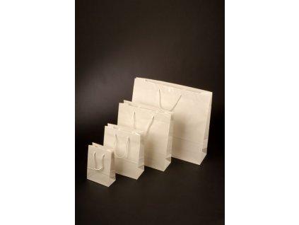 Papírová taška bílá s lesklou laminací a bavlněným uchem
