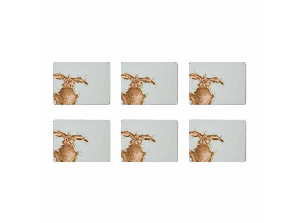 wrendale coloured green hare placemats s 6 5