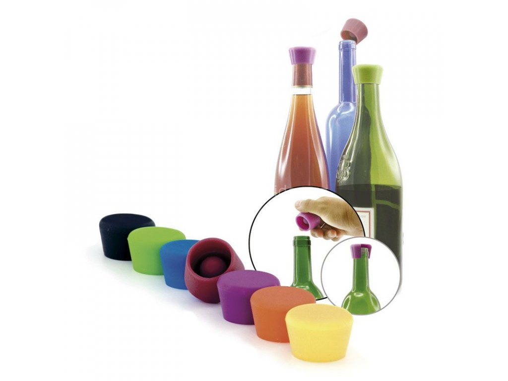 Pulltex set 2 silikonových uzávěrů na víno, různé barevné varianty