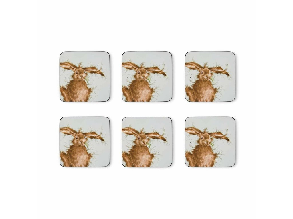 wrendale coloured green hare coasters s 6 4