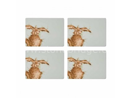 wrendale coloured green hare large placemats s 4 5