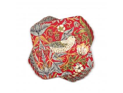 strawberry thief red by morris and co coaster set web 1