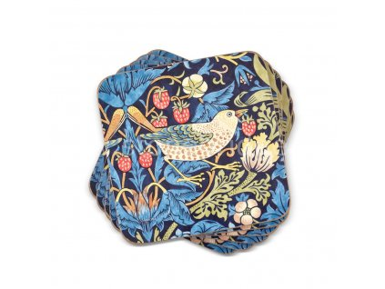 strawberry thief blue by morris and co coaster set web 1