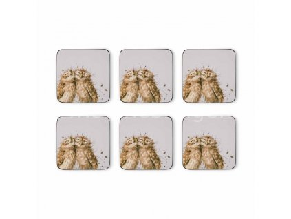 wrendale coloured grey owl coasters s 6 2