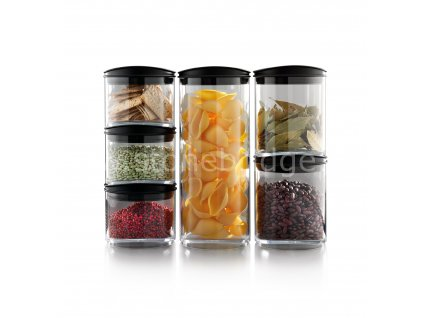 SIG Stacked Jars with food on white