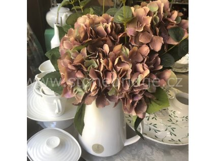 Innovative Hortenzie 5 květů 45cm, barva hnědo-růžová, květinová dekorace