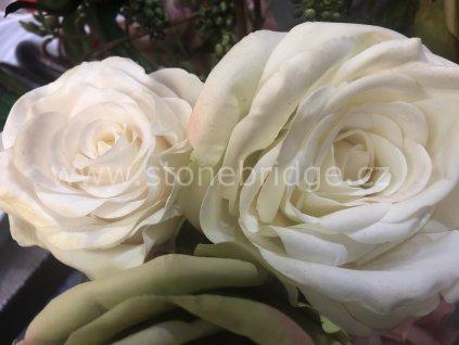Innovative Růže bílá s listy - od 65cm, květinová dekorace - 2 různé velikosti