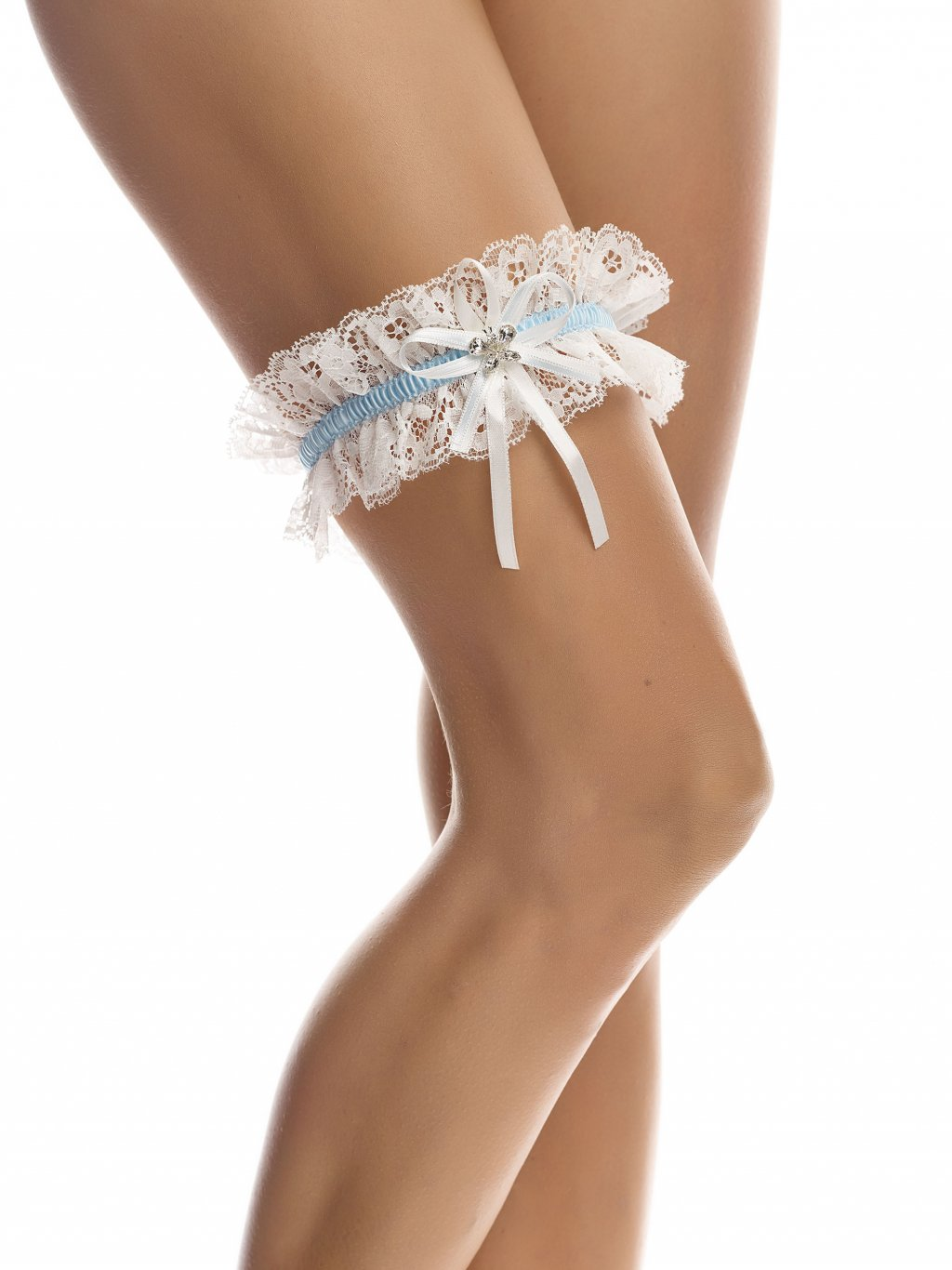 Studioagnes podvazek svatebni smetanovy s modrou stuhou Bianco Evento bridal garter SB3 (1)