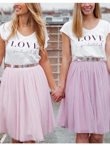 tylová sukne mini ruzova