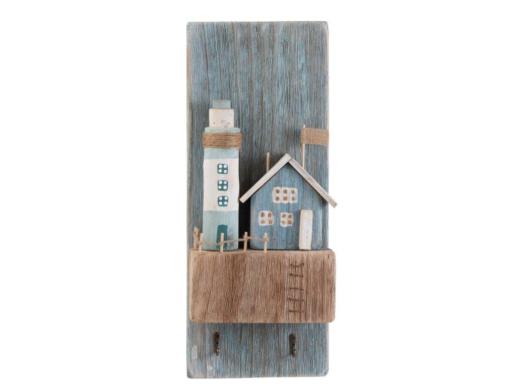 Nástěnný dřevěný věšák s dekorací majáku