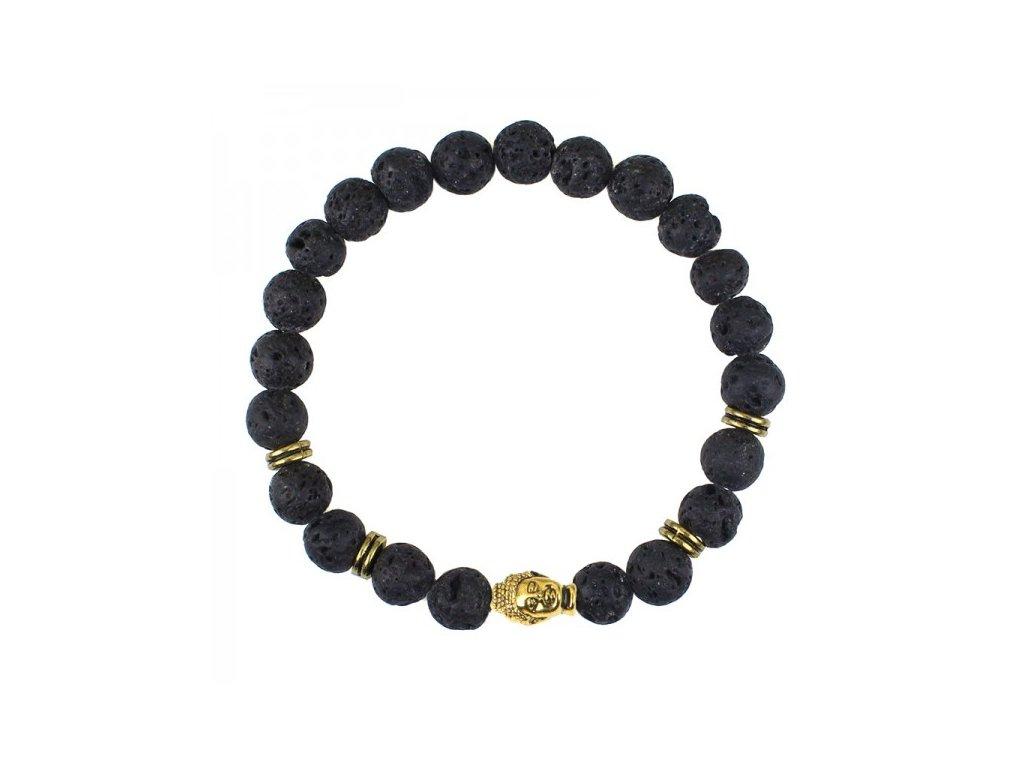 Buddha náramek z lávových kamenů - černý