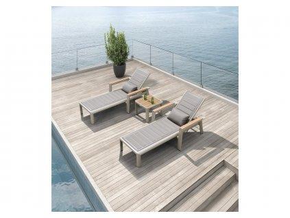 Set zahradní lehátko a odkládací stolek Geneva