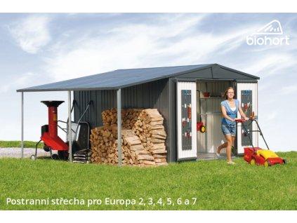 Biohort Postranní střecha pro EUROPA 4,5, stříbrná metalíza
