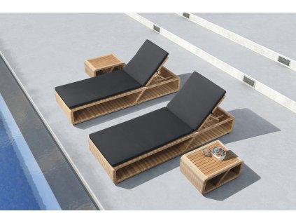 Set 2 zahradní lehátka a stolek