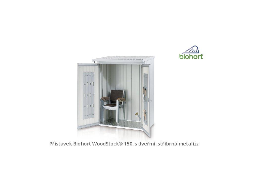 Biohort Zadní stěna WoodStock® 150, stříbrná metalíza