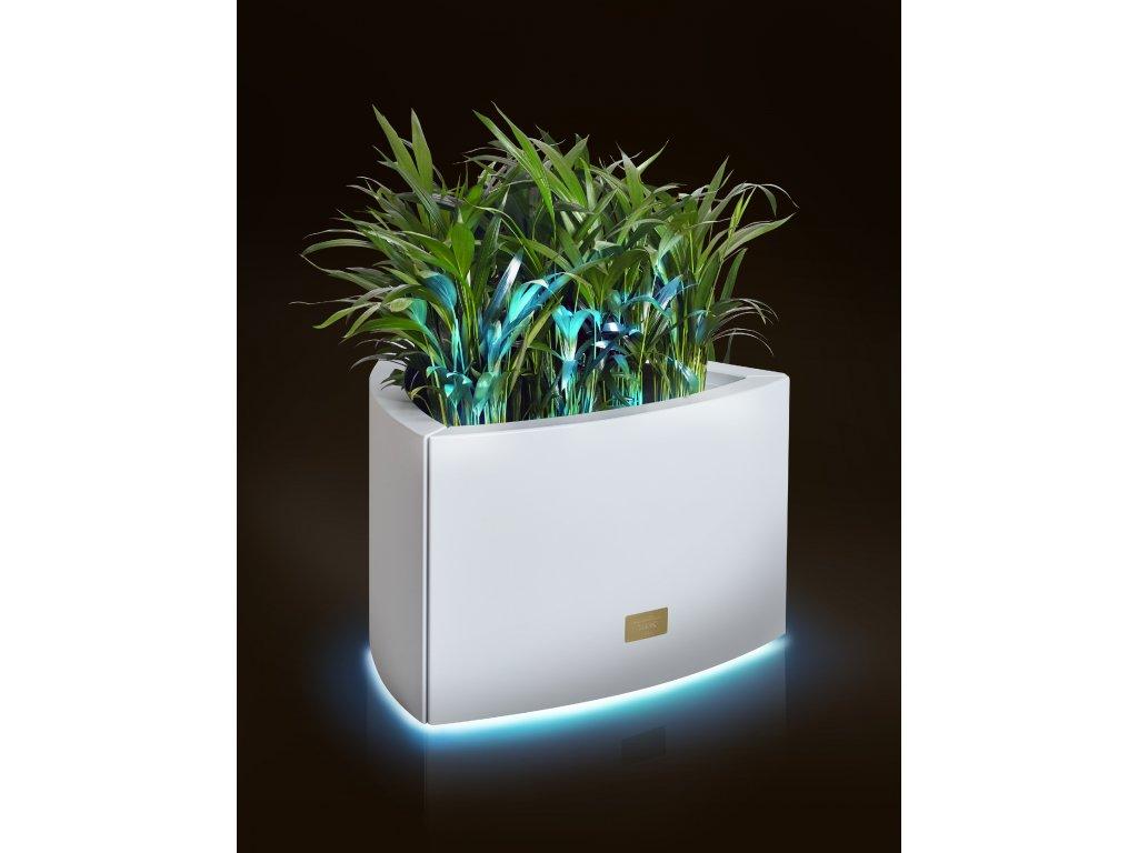 Hliníkový obal na květináč TRIANGLE S s LED osvětlením (Barva Červená)