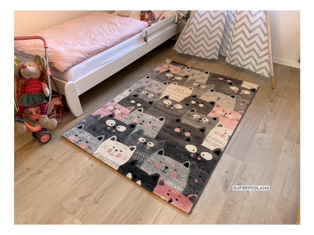 Dětský koberec Kiddo A1079 pink