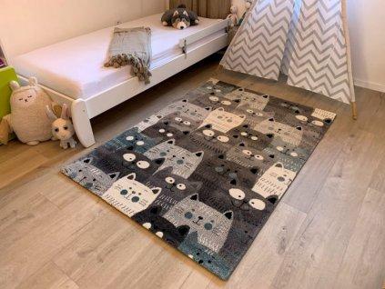 Dětský koberec Kiddo A1079 blue