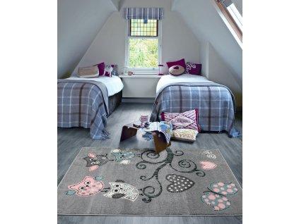 Detsky koberec Playtime 0420A sedy interier