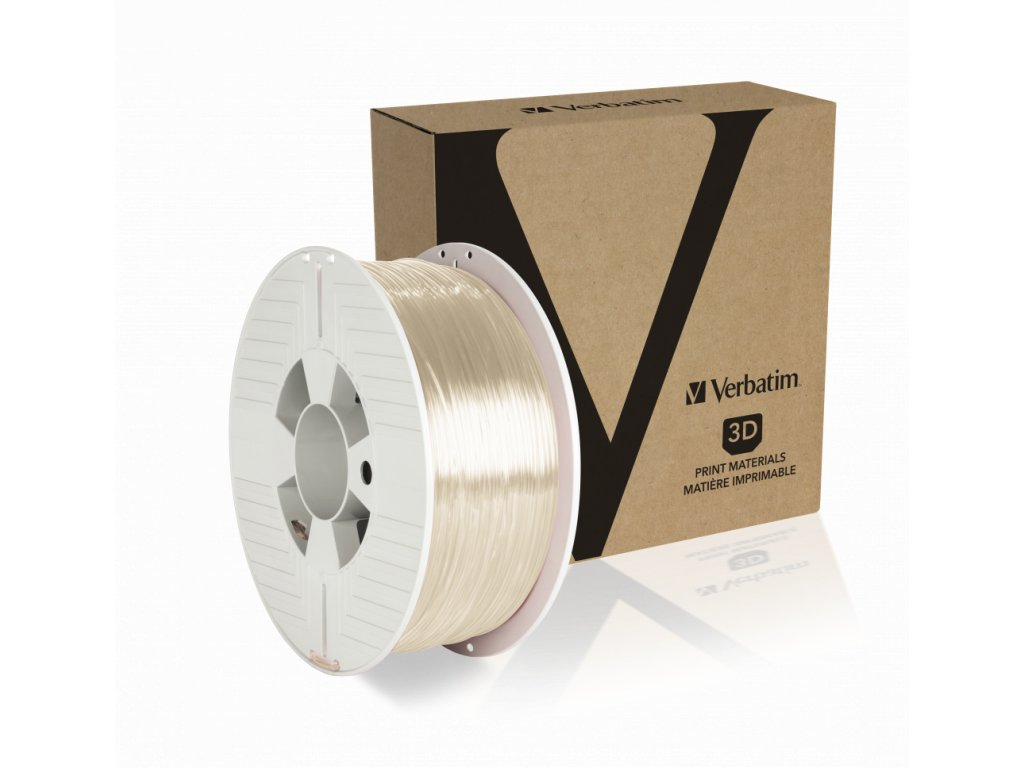 Verbatim PET G 1.75mm Clear Angled+Product