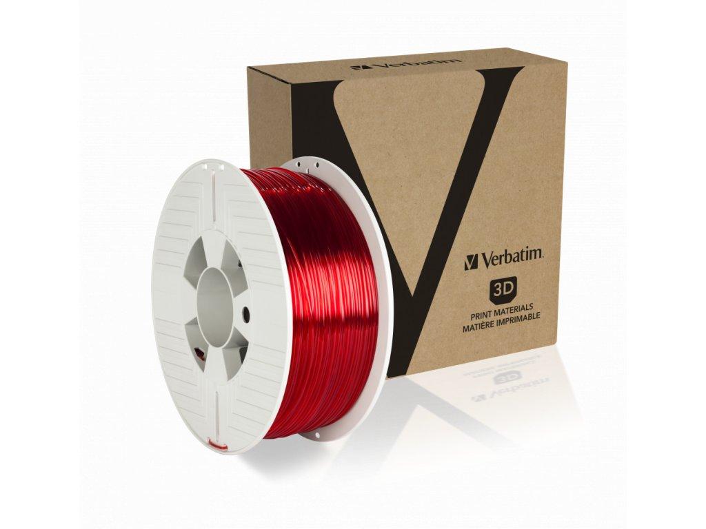 Verbatim PET G 1.75mm Red Transparent Angled+Product
