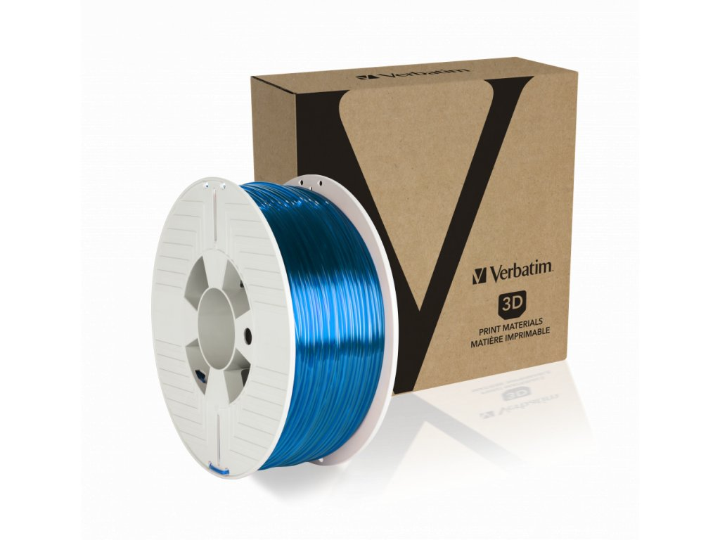 Verbatim PET G 2.85mm Blue Transparent Angled+Product
