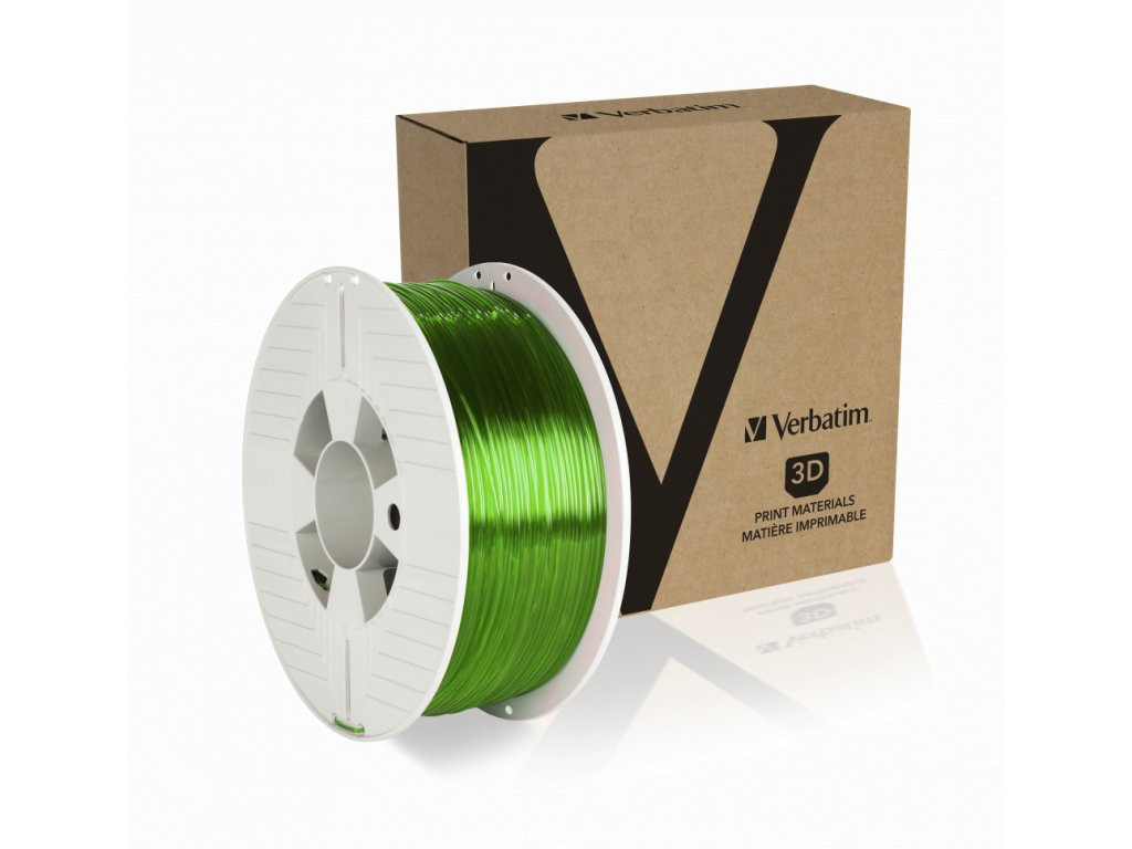 Verbatim PET G 1.75mm Green Transparent Angled+Product