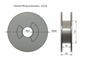 Filament PM FRJet - PETG samozhášivá bílá 0,5 kg 1,75 mm (Průměr struny 1.75 mm, Hmotnost návinu 0.5 kg)