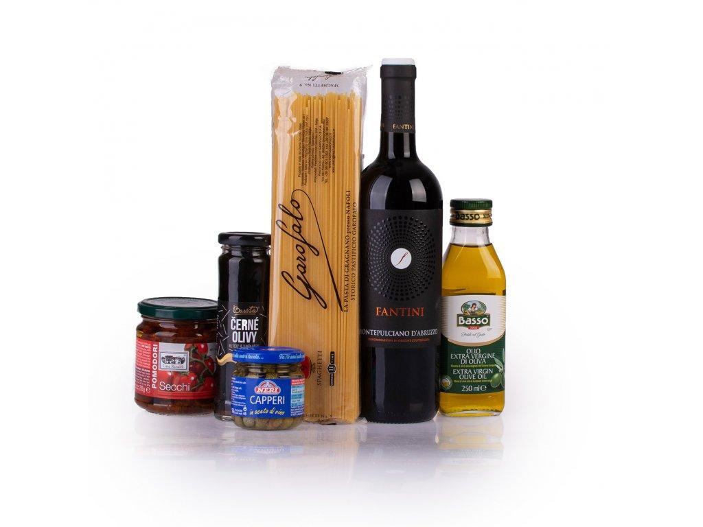 Spaghetti, sušená rajčata, kapary, olivy a Montepulciano d'Abruzzo Farnese