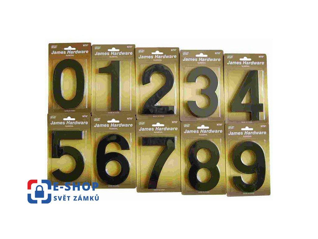 Číslice na dům fasádní 152mm černá-mat Číslice: