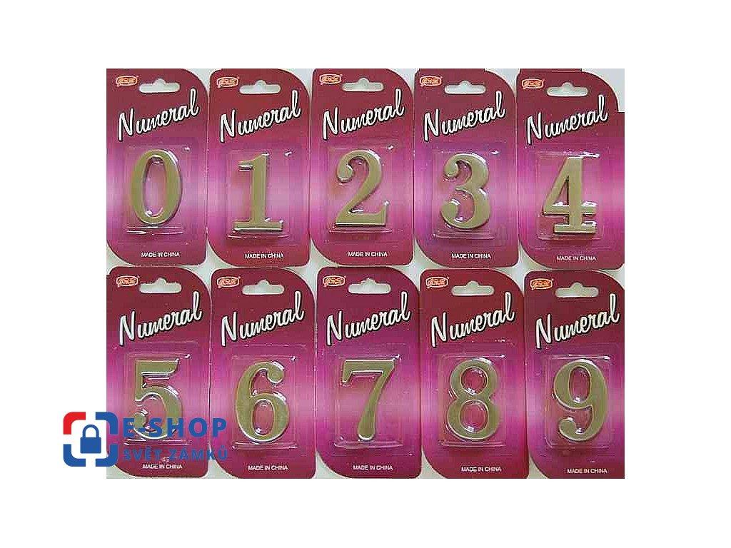 Číslice na dveře 45mm Ni-broušený Číslice: