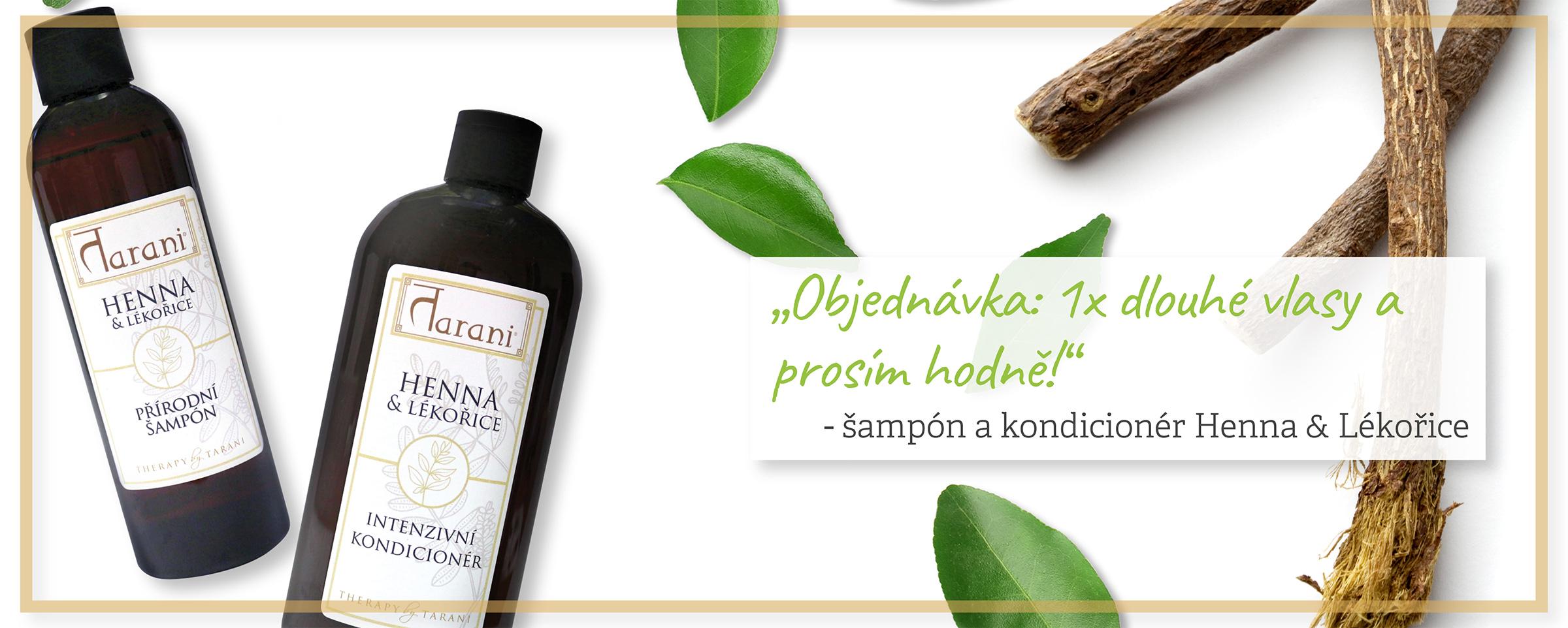 Henna lékořice šampón kondicionér zdravé vlasy přírodní péče ajurvéda Tarani