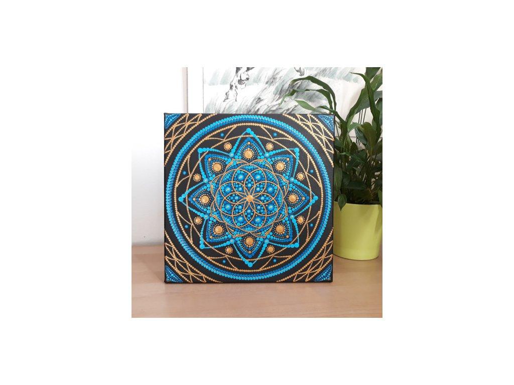 tcm fengshui Tečkovaná mandala Královská modrá