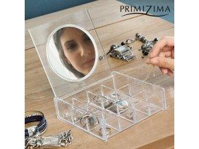 pruhledna sperkovnice se zrcatkem primizima
