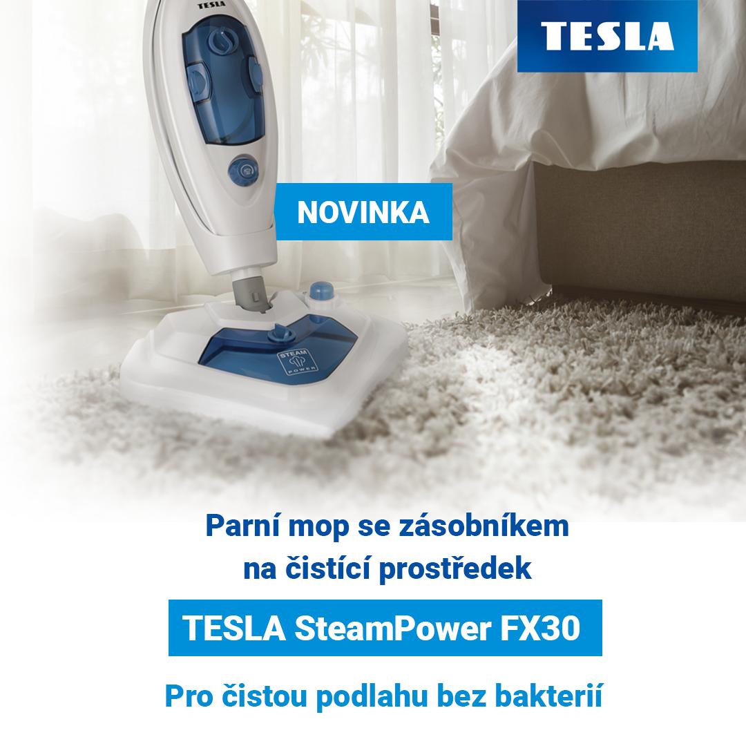 Novinka: parní mop se zásobníkem na čistící prostředek TESLA SteamPower FX30