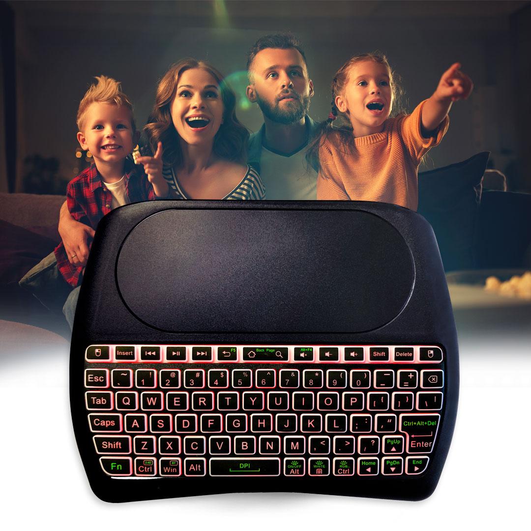 Novinka: bezdrátová klávesnice s touchpadem s podsvícením TESLA Device D8 mini