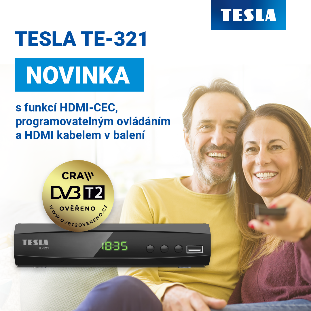 DVB-T2 Set-top box TESLA TE-321 s podporou HDMI-CEC