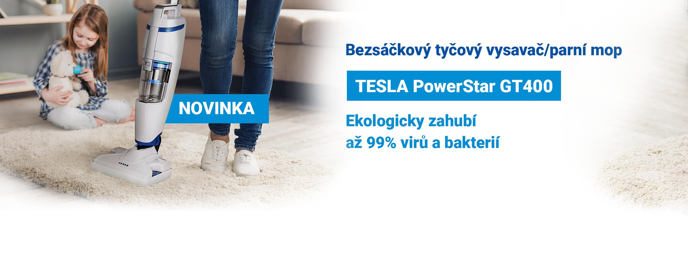 Novinka: TESLA PowerStar GT400 - bezsáčkový tyčový vysavač/parní mop