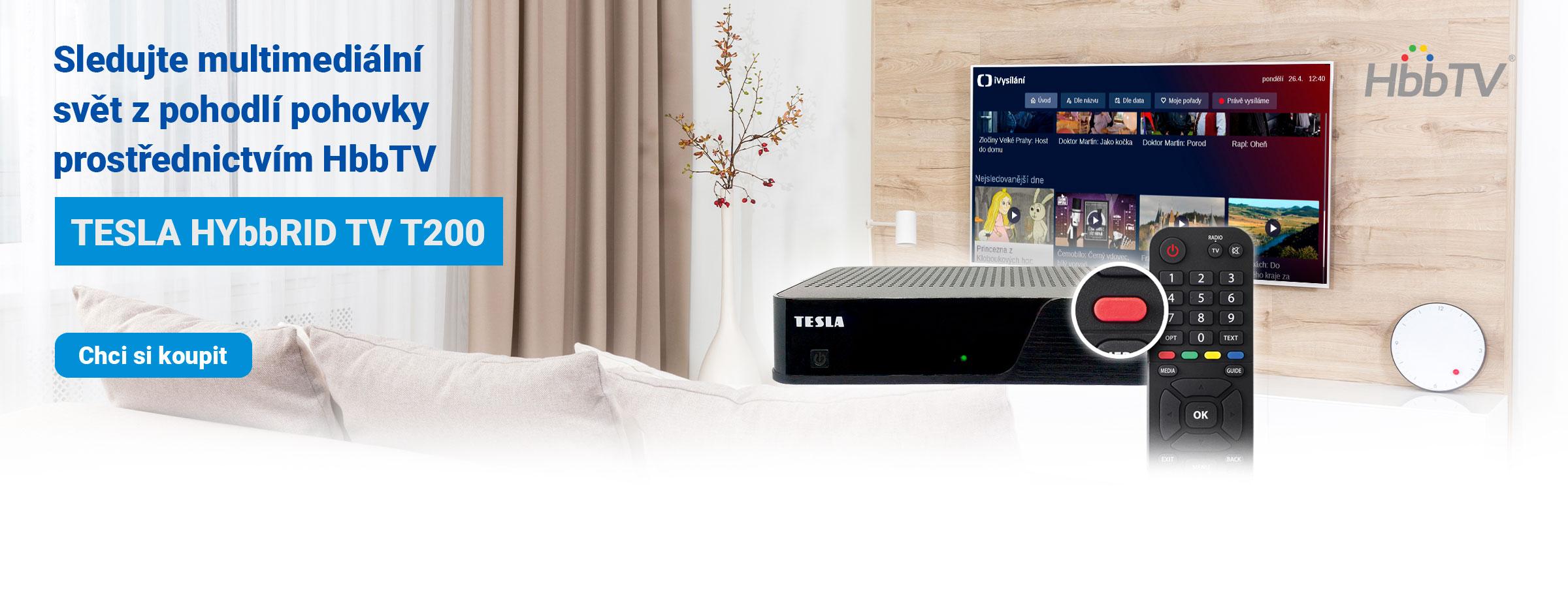 TESLA HYbbRID TV T200 - DVB‒T2 H.265 (HEVC) přijímač s HbbTV