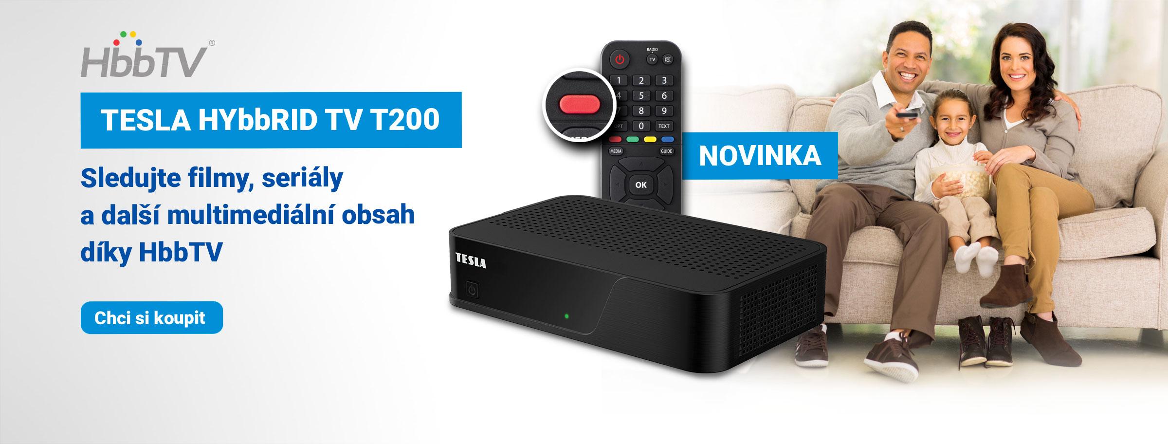 Novinka: TESLA HYbbRID TV T200 - DVB‒T2 H.265 (HEVC) přijímač s HbbTV