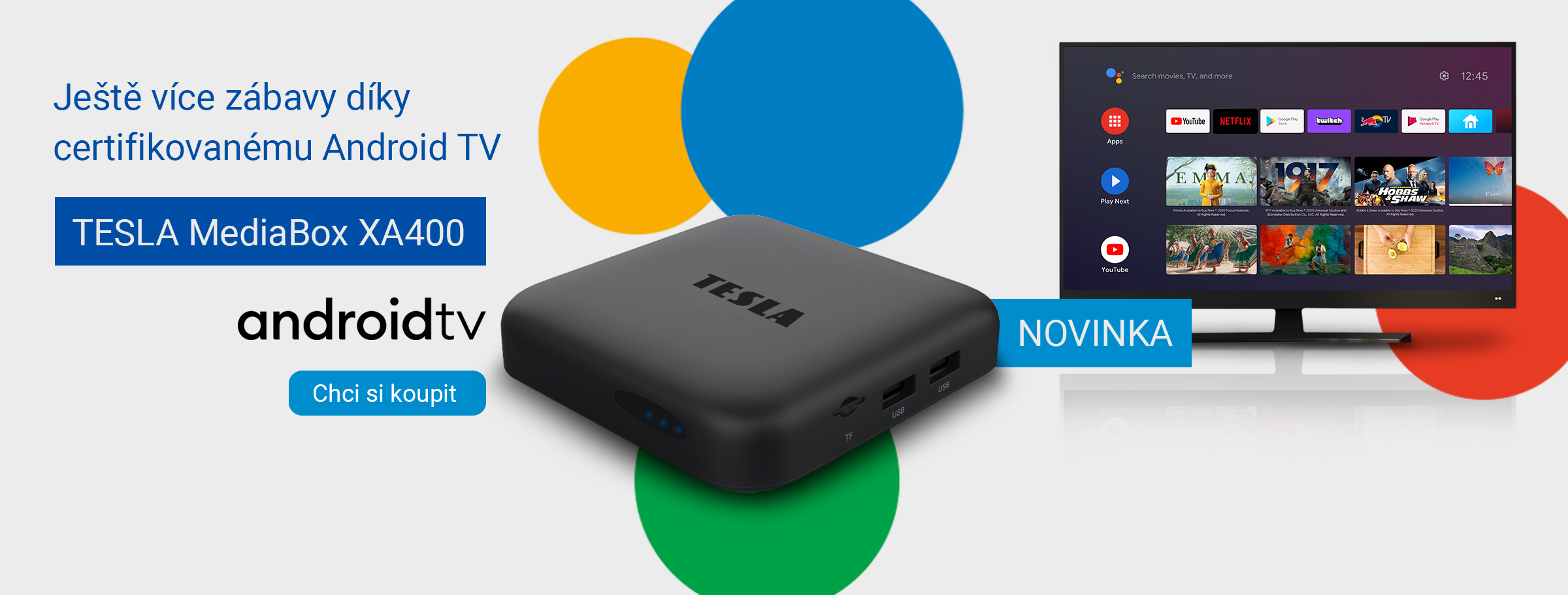 Novinka: TESLA MediaBox XA400 Android TV – UHD multimediální přehrávač