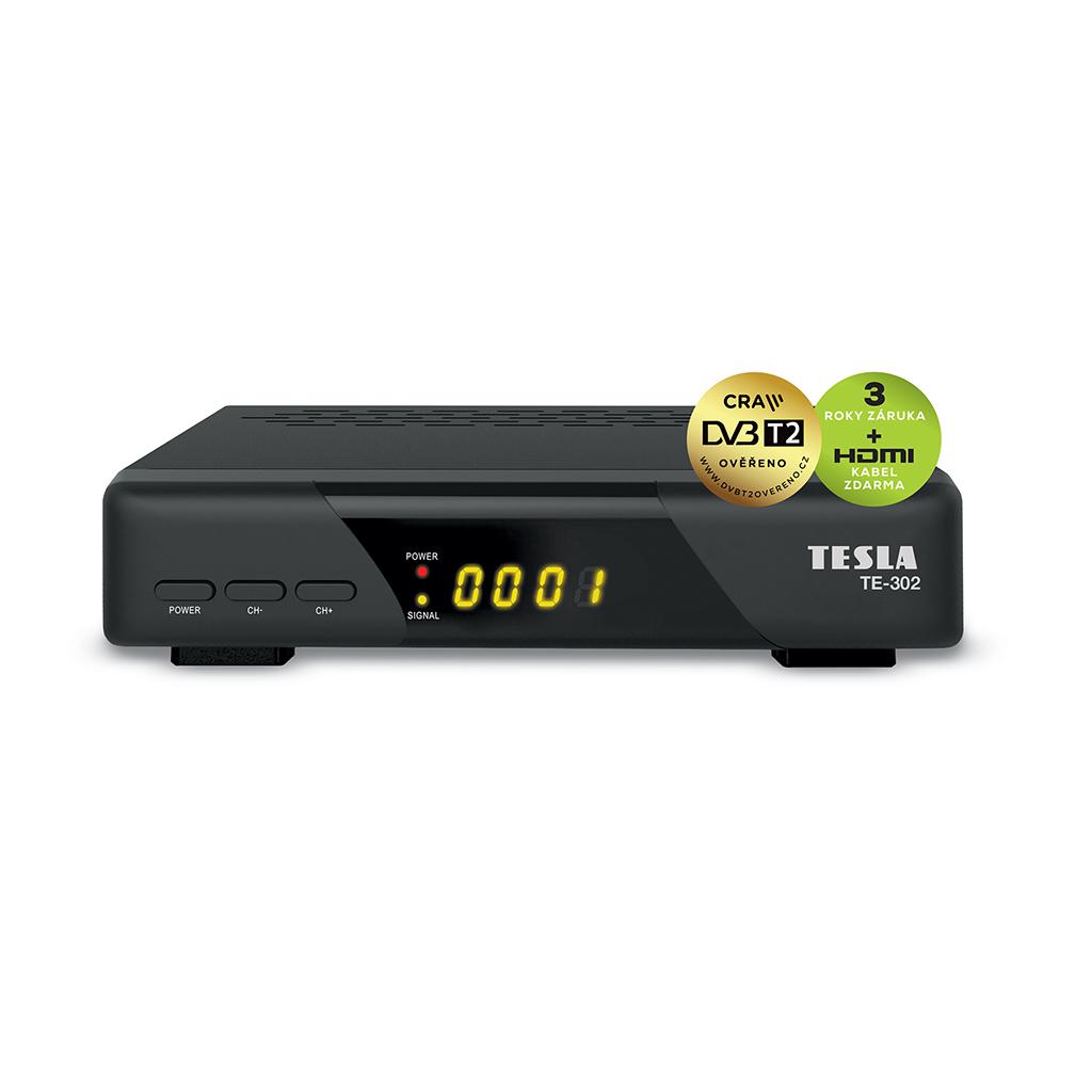 TESLA TE‒302 - DVB‒T2 H.265 (HEVC) přijímač, DVB‒T2 ověřeno, HDMI‒CEC, univerzální DO