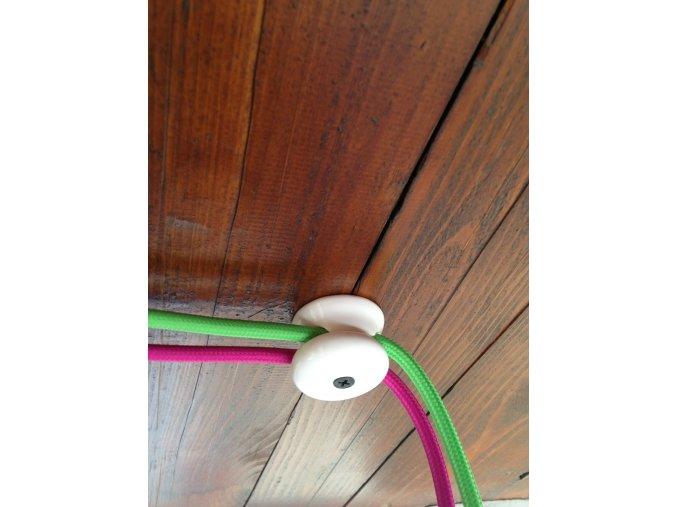 stropní a nástěnný keramický úchyt na 2 kabely (bílý)