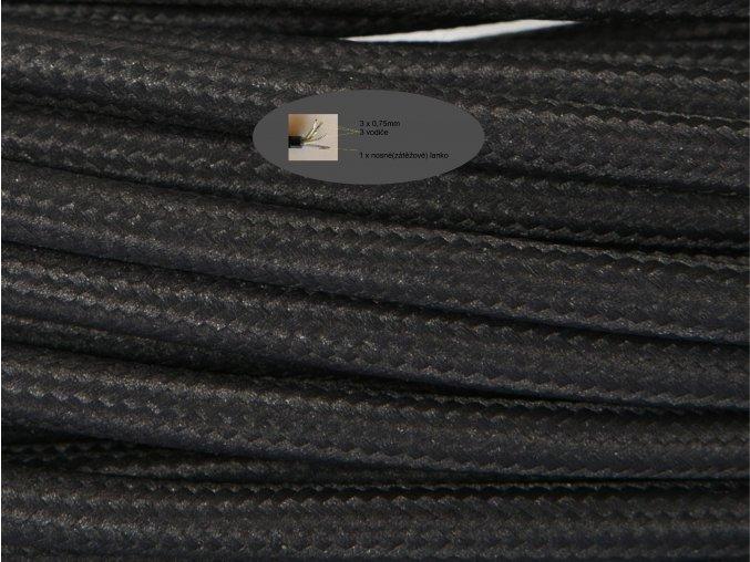 Kabel 3 x 0,75mm s nosným lankem černý