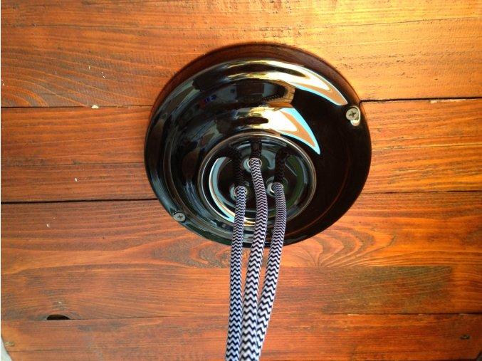Keramický baldachýn na 3 kabely černý