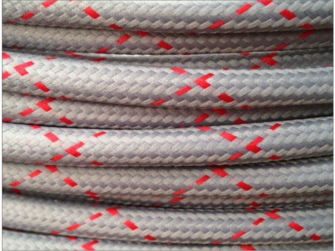 Textilní kabel 2 x 0,75mm pattern round X šedo-červený