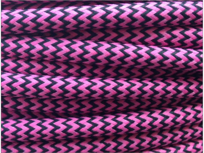 Textilní kabel CIKCAK 2 x 0,75mm černo růžový