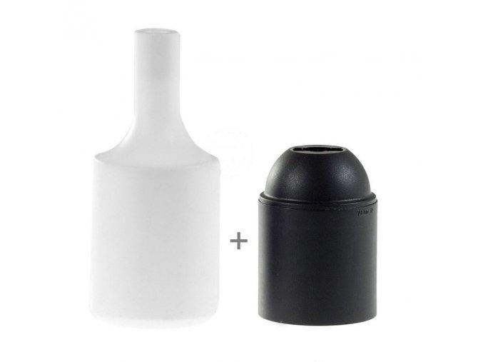 Silikonový návlek s plastovou objímkou E27   - bílá