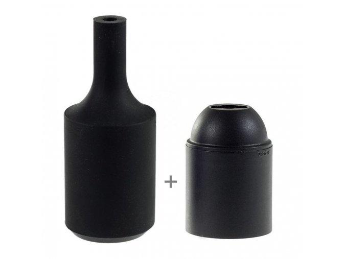 Silikonový návlek s plastovou objímkou E27   - ČERNÝ