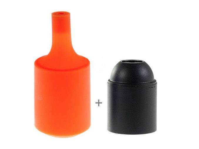 Silikonový návlek s plastovou objímkou E27   - ORANŽ
